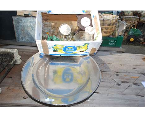A box of miscellaneous glass, Stilton storage jars and a large stainless steel meat platter.