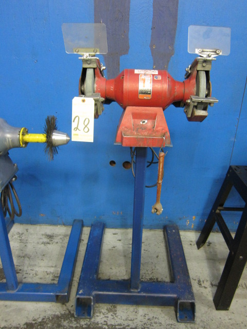 Lot 28 - PEDESTAL GRINDER, 3/4 HP motor, on fabricated stand