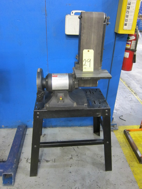 Lot 29 - BELT & DISC SANDER, DAYTON 6 X 9, on fabricated stand