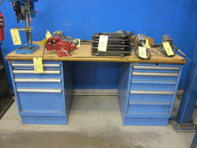 """Lot 25 - WORKBENCH, LISTA, 72"""" x 30"""" oak top, dbl. roller drawer pedestal (not to be removed until contents"""