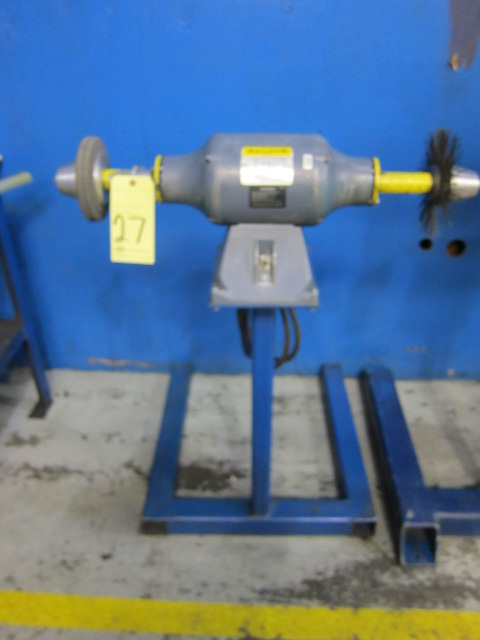 Lot 27 - PEDESTAL GRINDER, 1 HP motor, on fabricated stand