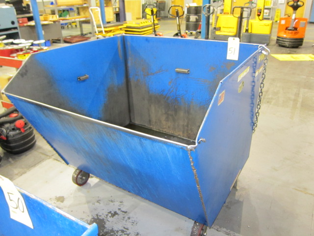 Lot 51 - SELF-DUMPING CHIP HOPPER, VESTIL 4,000 LB. CAP. MDL. H150-MV, 1-1/2 cu. yd. cap., forklift entry