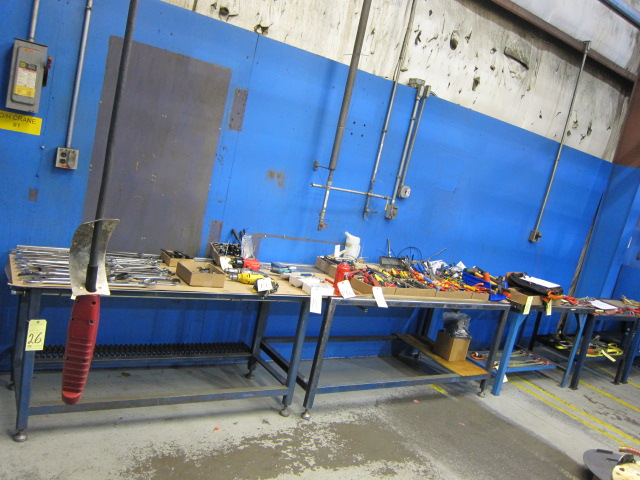 Lot 26 - LOT OF STEEL WORKBENCHES (5), assorted (not to be removed until contents have been taken)