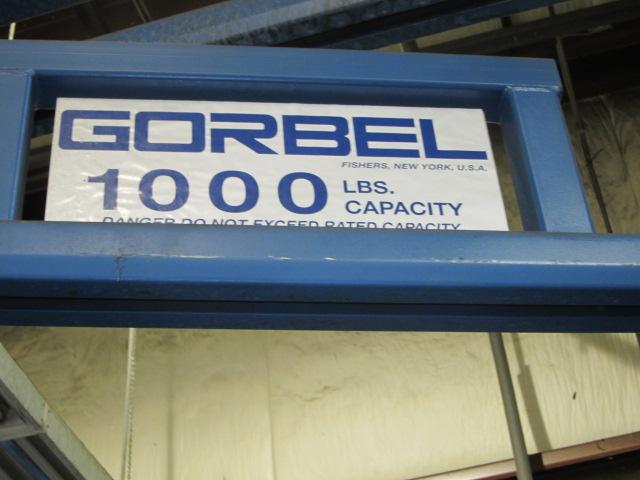 Lot 45 - JIB CRANE, GORBEL 1,000 LB. CAP. X APPROX. 8' REACH, 6' ht. under hook, DeMag elec. chain &