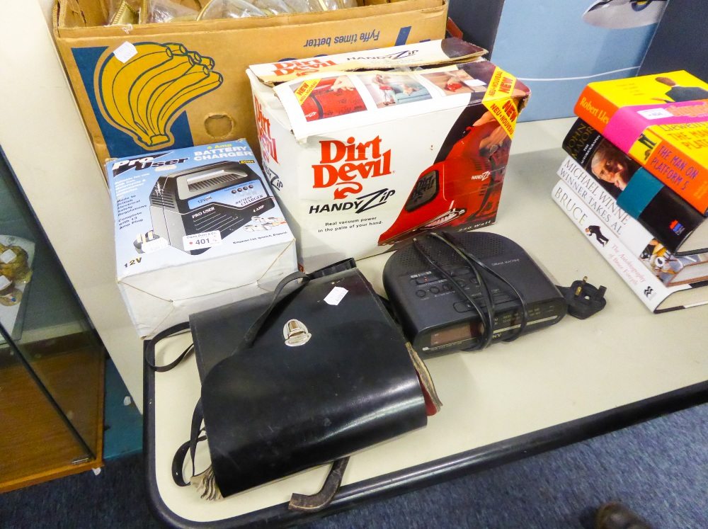 Lot 401 - A PRO-USER BATTERY CHARGER, SONY CLOCK RADIO, DIRT DEVIL HANDY ZIP VACUUM AND A PAIR OF SWALLOW 10 x