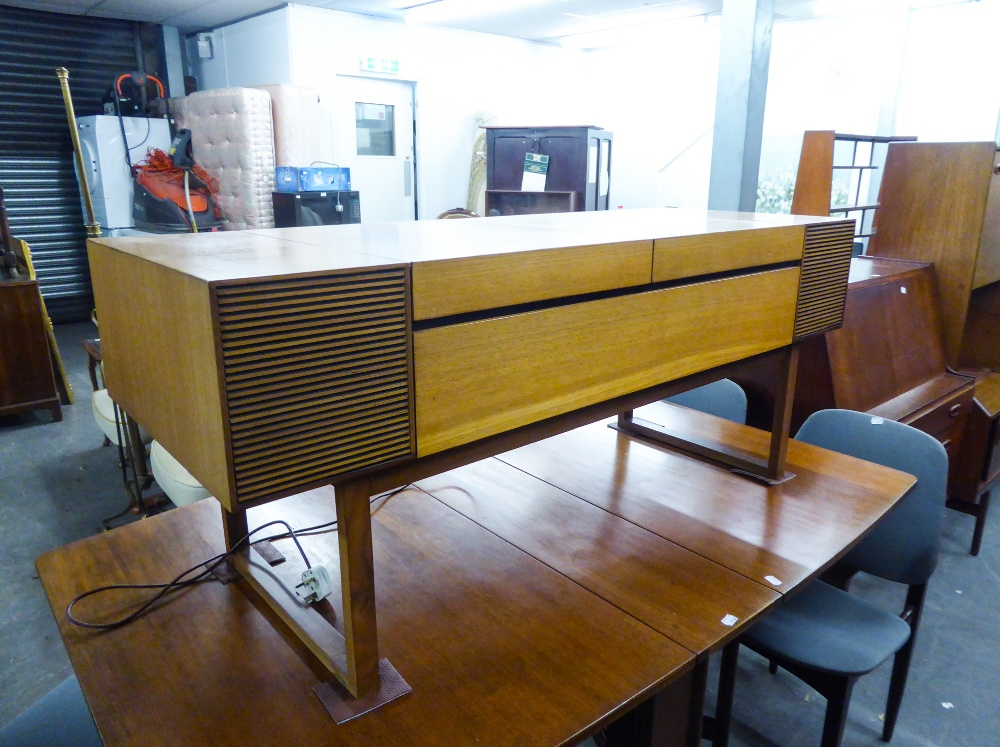 Lot 168 - CIRCA 1960's DYNATRON RECORD PLAYER, in wooden cabinet with record storage