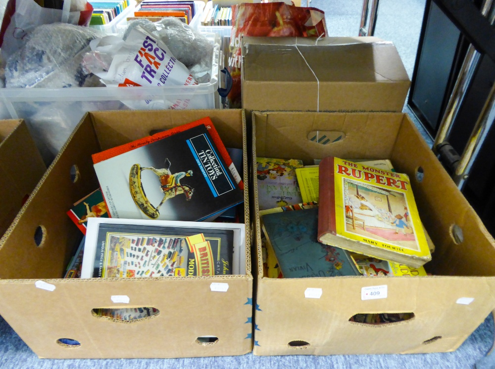 Lot 409 - ONE BOX OF CHILDREN'S BOOKS, ENID BLYTON 'HAPPY HOUR', MARY TOURTEL 'THE MONSTER RUPERT', AND A