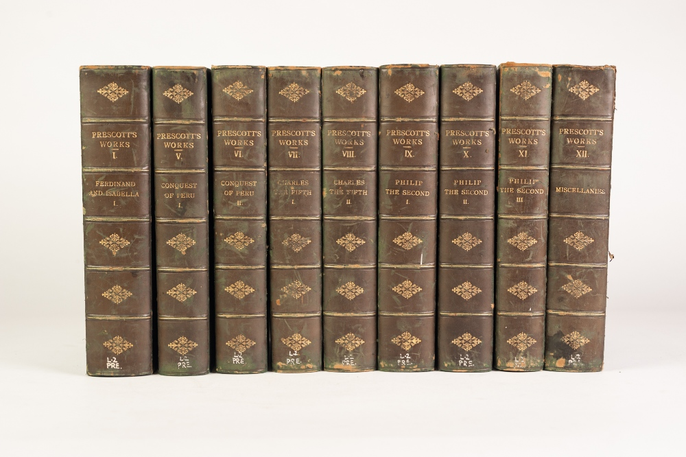 Lot 411 - THE COMPLETE WORKS OF WILLIAM HICKLING PRESCOTT. Edited by John Foster Kirk. 9 vols of 12