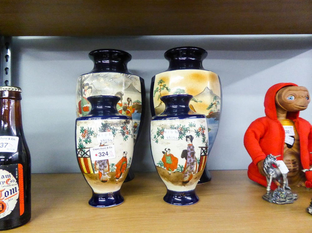 Lot 324 - A PAIR OF MODERN JAPANESE HEXAGONAL VASES WITH BLUE GROUND AND PANEL DETAIL AND TWO FURTHER VASES