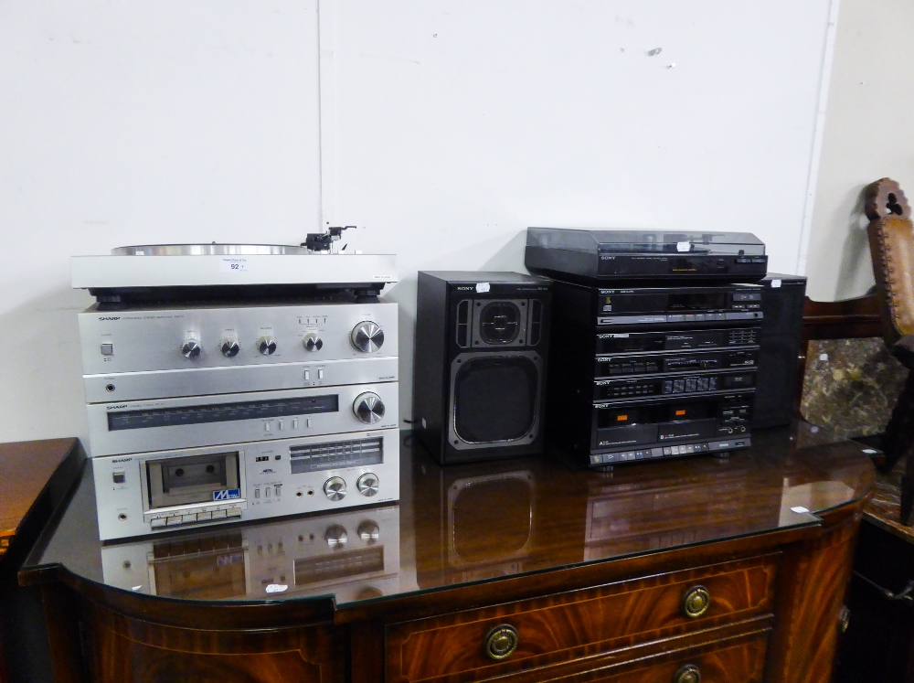 Lot 92 - SHARP SEPARATES STEREO EQUIPMENT TO INCLUDE; TURNTABLE, MODEL RP-21, AMPLIFIER SM-21, TUNER ST-21