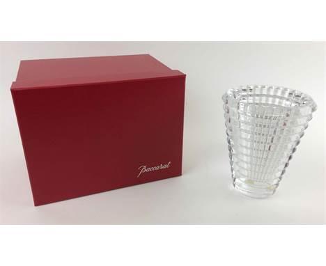 BACCARAT EYE VASE, resplendent undulating crystal with box, 15cm H x 12cm.