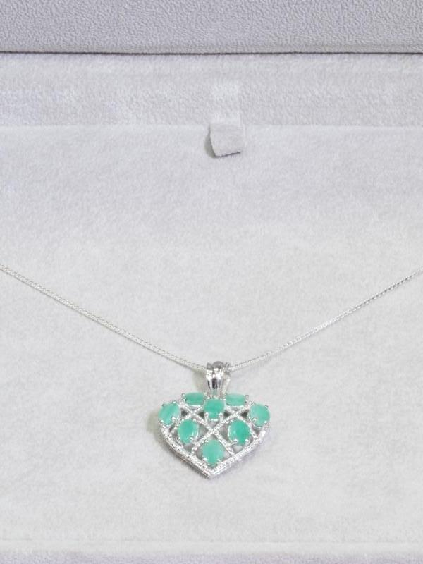 Lot 54 - Sterling Silver 8 Genuine Emerald (Approx 5.0ct) Heart Shaped Pendant with Chain. Retail $400