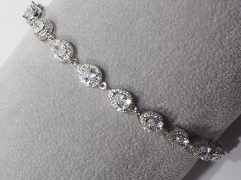 Lot 57 - Sterling Silver Cubic Zirconia Bracelet. Retail $300