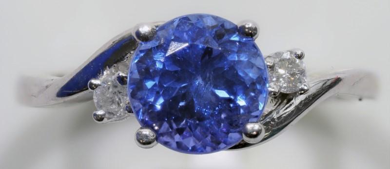 Lot 32 - 10K White Gold Tanzanite (December Birthstone) (1.5ct) 2 Diamond (0.11ct) Ring. Insurance Value $300