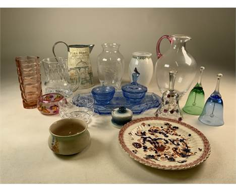A collection of 20th century Coloured glassware, glass bells and other items.