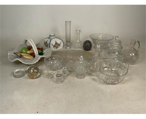 A collection of glassware to include fruit basket, dishes, decanters, Victorian lamp shade and other pieces (AF)