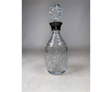 A sterling silver collared cut glass decanter by Laurence R Watson, Birmingham 1991H:29cm