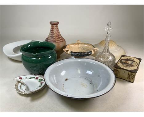 Miscellaneous items, pottery, glass large enamel bowl and more