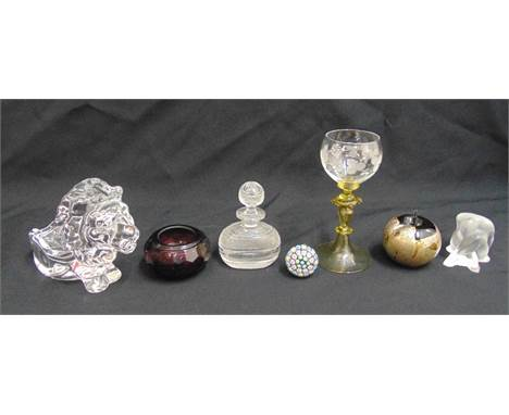 A Salviati Murano goblet, a Lalique figurine A/F, a French glass figurine of a lion, a Regency glass scent bottle, a Moser gl
