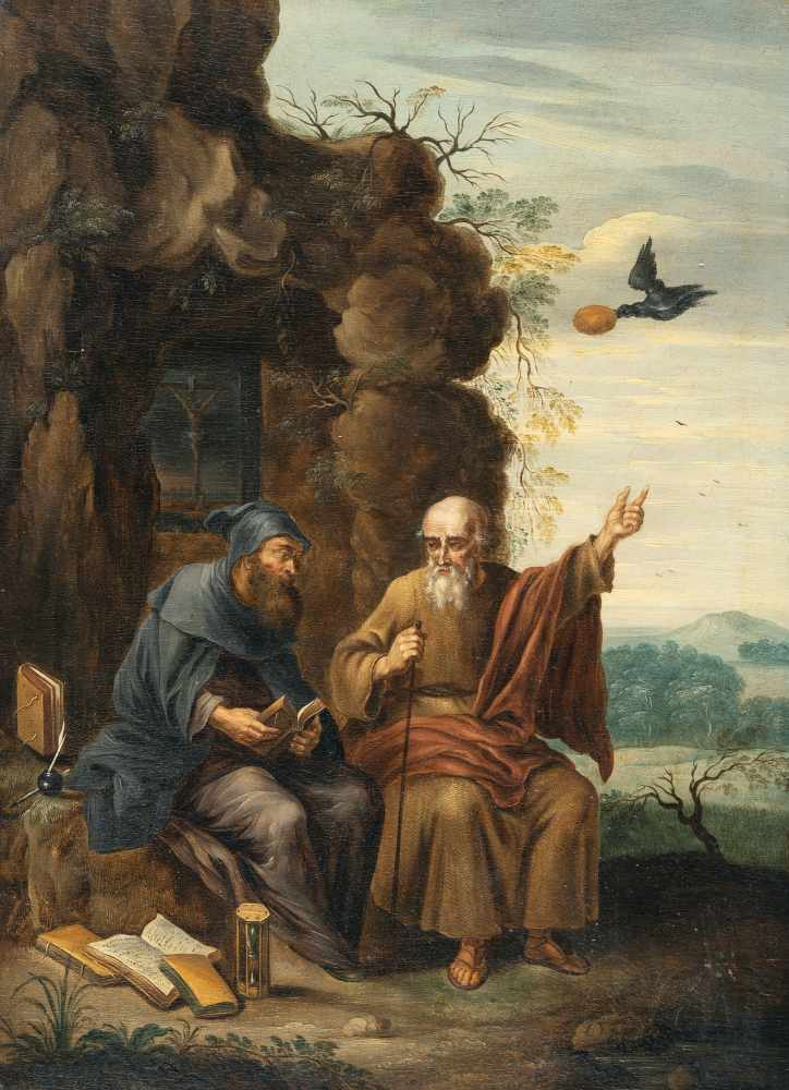David Teniers D. J. (Nachfolge)1610 Antwerp - Brussels 1690Der Rabe bringt den Heiligen Antonius und