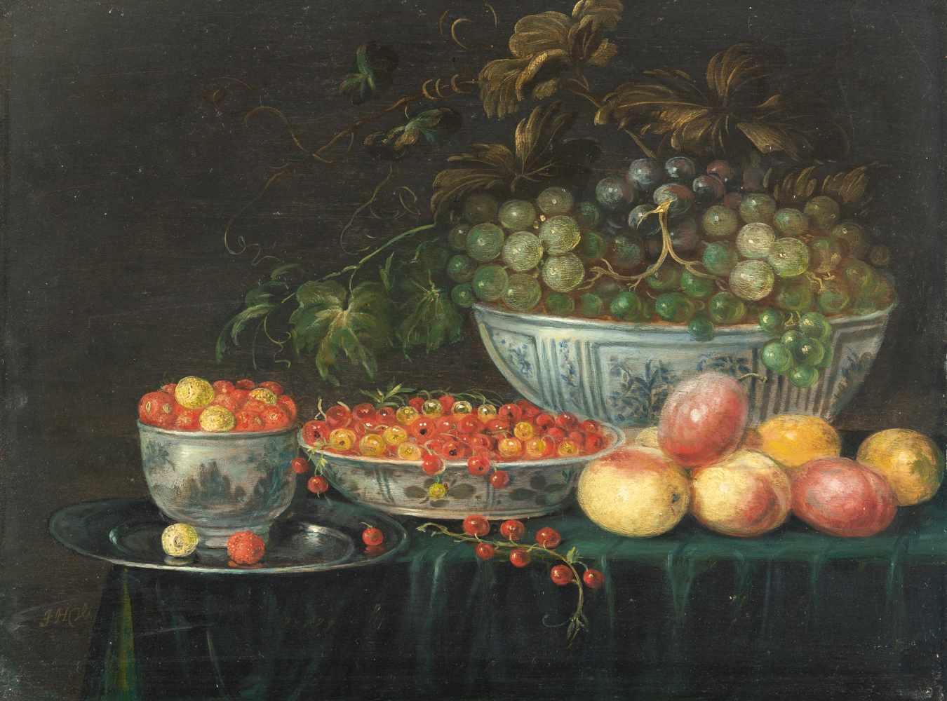 Los 4 - Monogrammist J.H.V.active in the northern Netherlands fRome 1652 - 1664Stillleben mit Erbeeren,