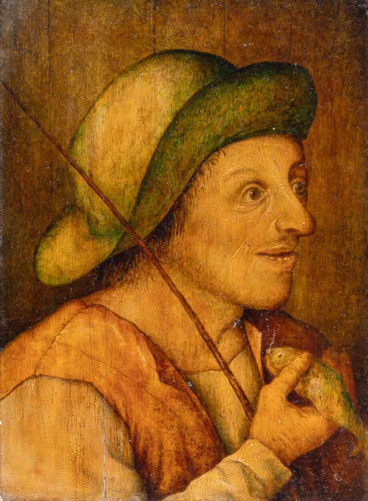 Los 8 - Pieter Brueghel D. J. (Nachfolge)1564 Brussels - Antwerp 1638Brustbild eines Anglers, einen