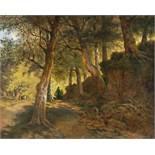 Anton Altmann D. J.1808 -Vienna - 1871Durchlichteter WaldwegÖl auf Leinwand. 39 x 47,5 cm. Signiert