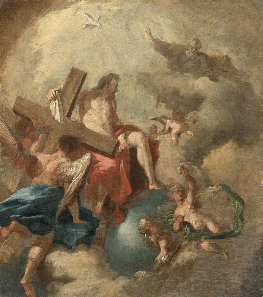 Los 56 - Franz Sigrist1727 Alt-Breisach - Vienna 1803Die heilige Dreifaltigkeit in der GlorieÖl auf Leinwand,