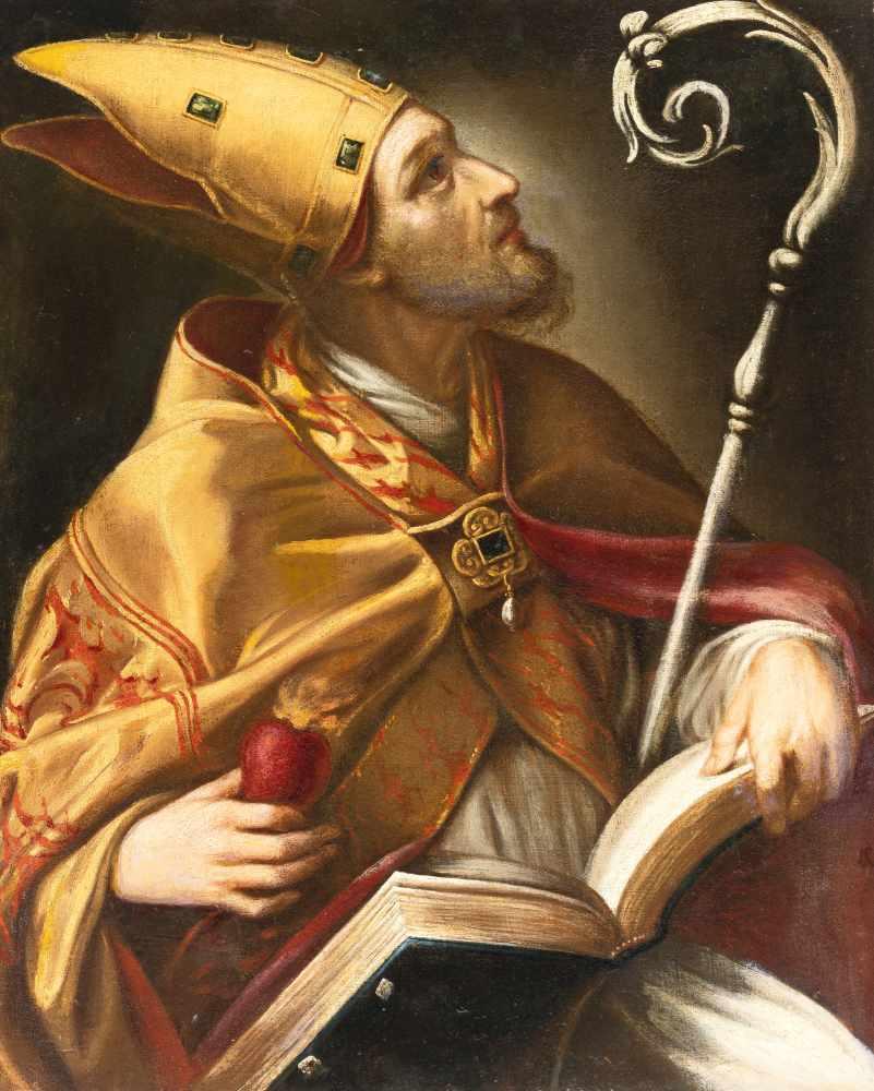 Los 7 - ItalienischDer hl. AugustinusÖl auf Leinwand, auf Holz aufgezogen (18. Jh.). 64,5 x 52 cm.