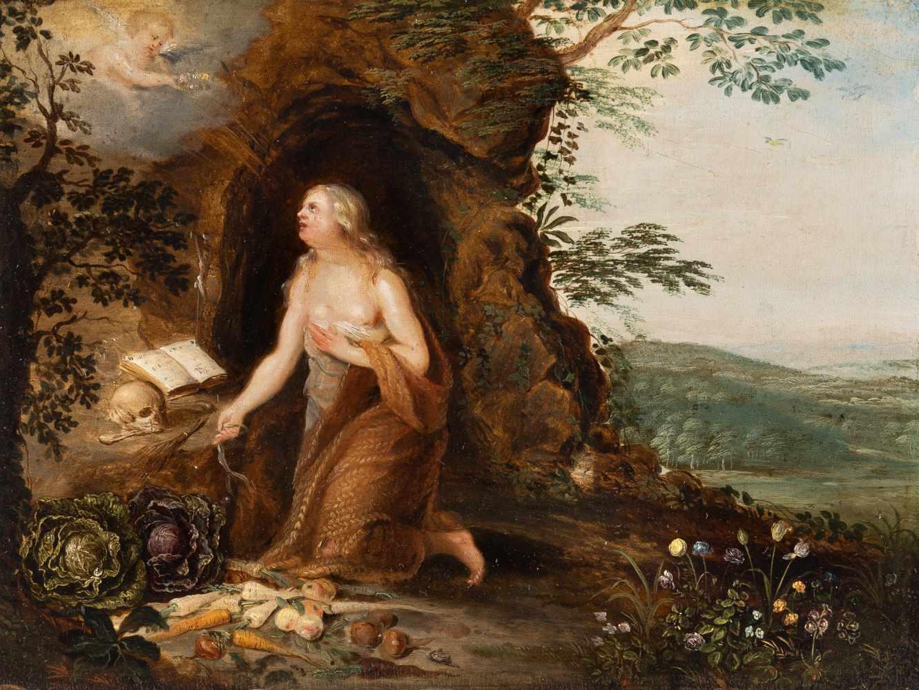 Los 20 - FlämischDie büßende Maria MagdalenaÖl auf Holz. (17. Jh.). 20 x 26,5 cm. Provenienz: Privatbesitz,