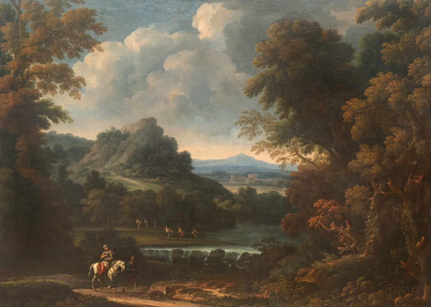 Rom, Um 1700Klassische LandschaftÖl auf Leinwand, doubliert. (Um 1680/1700). 124 x 172 cm.