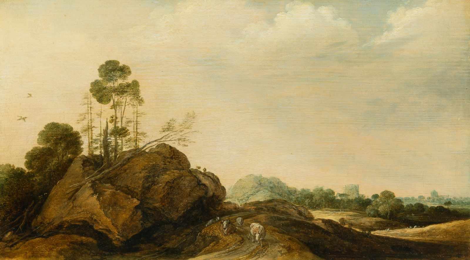 Los 25 - Gillis Claesz. D' Hondecoeter1575/80 Antwerp - Amsterdam 1638Felsige Landschaft mit Vieh und