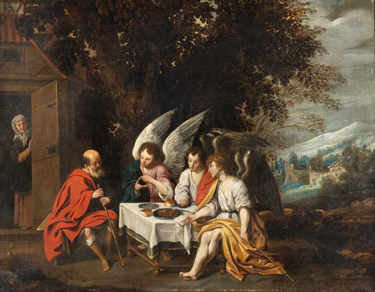Los 21 - Abraham Van Diepenbeeck1596 Hertogenbosch - Antwerp 1675Abraham bewirtet die drei EngelÖl auf