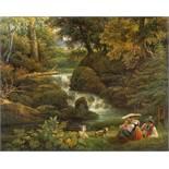Johann Nepomuk Schödlberger1779 - Vienna - 1853Junge Familie an einem Waldbach ruhendÖl auf