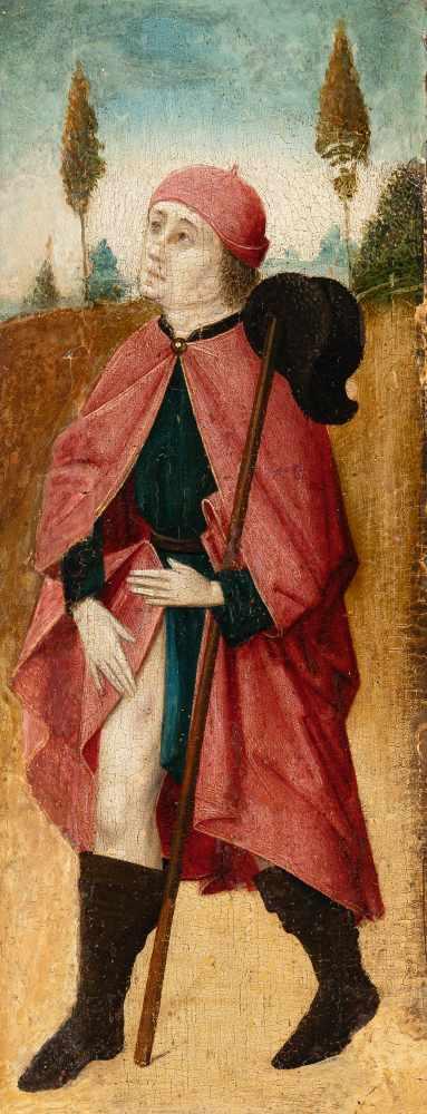 TirolDer hl. RochusÖl auf Holz. (1. Hälfte 16. Jh.). 32 x 11 cm. Provenienz: Privatbesitz,