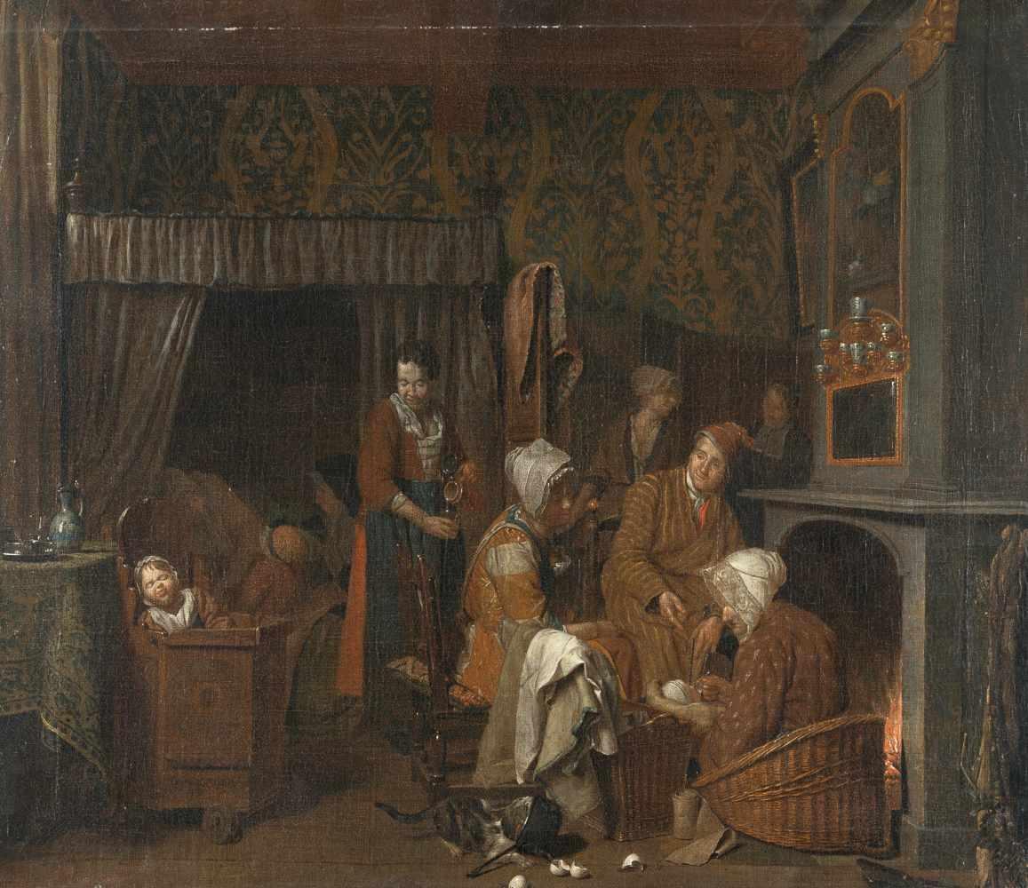 Jan Josef Hooremans D. J.1714 - Antwerp - 1792Besuch bei der WöchnerinÖl auf Leinwand, doubliert.