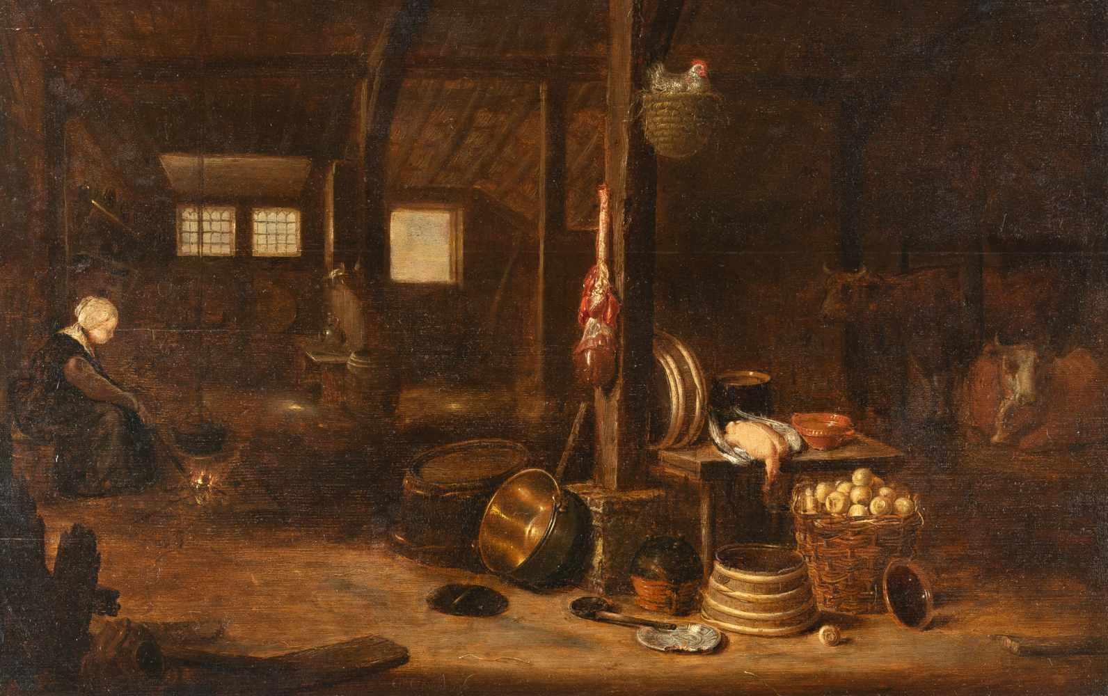 Govert Dircksz. Camphuysen1623/24 Gorinchem - Amsterdam 1672Kücheninterieur mit Magd am FeuerÖl
