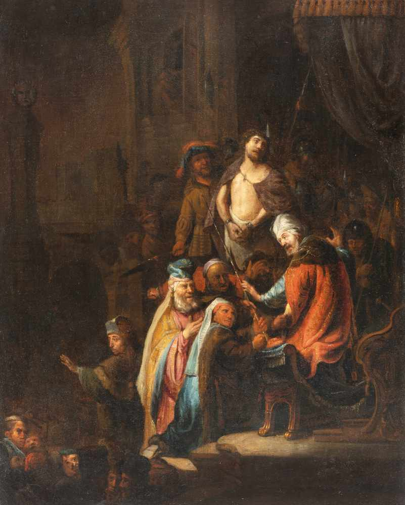 Los 27 - Rembrandt Harmensz. Van Rijn (Nachfolge)1606 Leiden - Amsterdam 1669Christus vor PilatusÖl auf