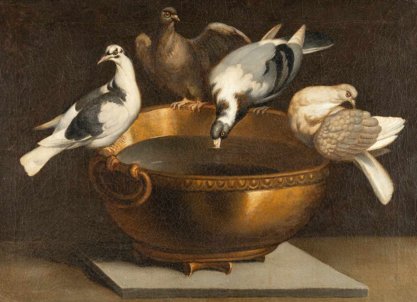 ItalienischVier Tauben auf einem Kupferkessel (Tauben des Plinius)Öl auf Leinwand, doubliert. (2.