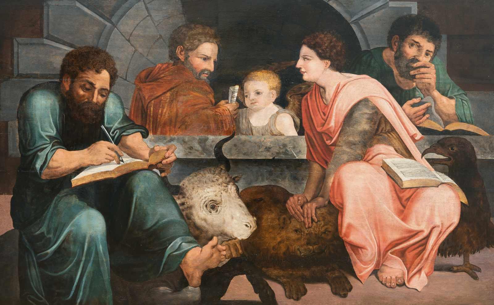Pieter Aertsen (Nachfolge)1508 -Amsterdam - 1575Die vier EvangelistenÖl auf Holz. 86 x 135