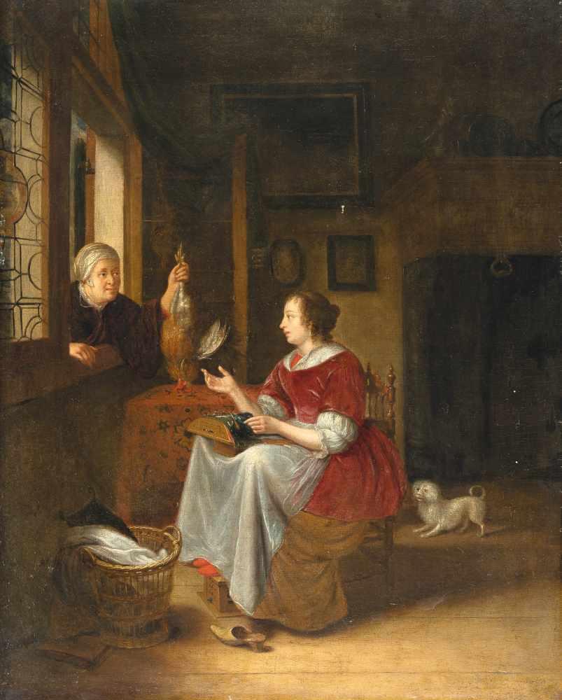 Los 31 - Pieter Cornelisz. Van Slingelandt (Umkreis)1640 - Leiden - 1691Interieur mit Spitzenklöpplerin und