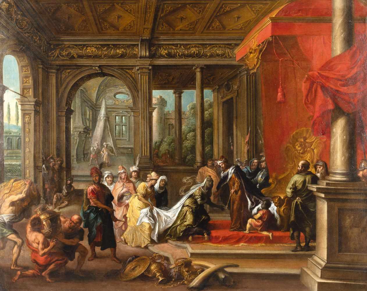 Paul Vredeman de Vries1567 - Antwerp - after 1630Die Königin von Saba vor SalomoÖl auf Kupfer. (Nach