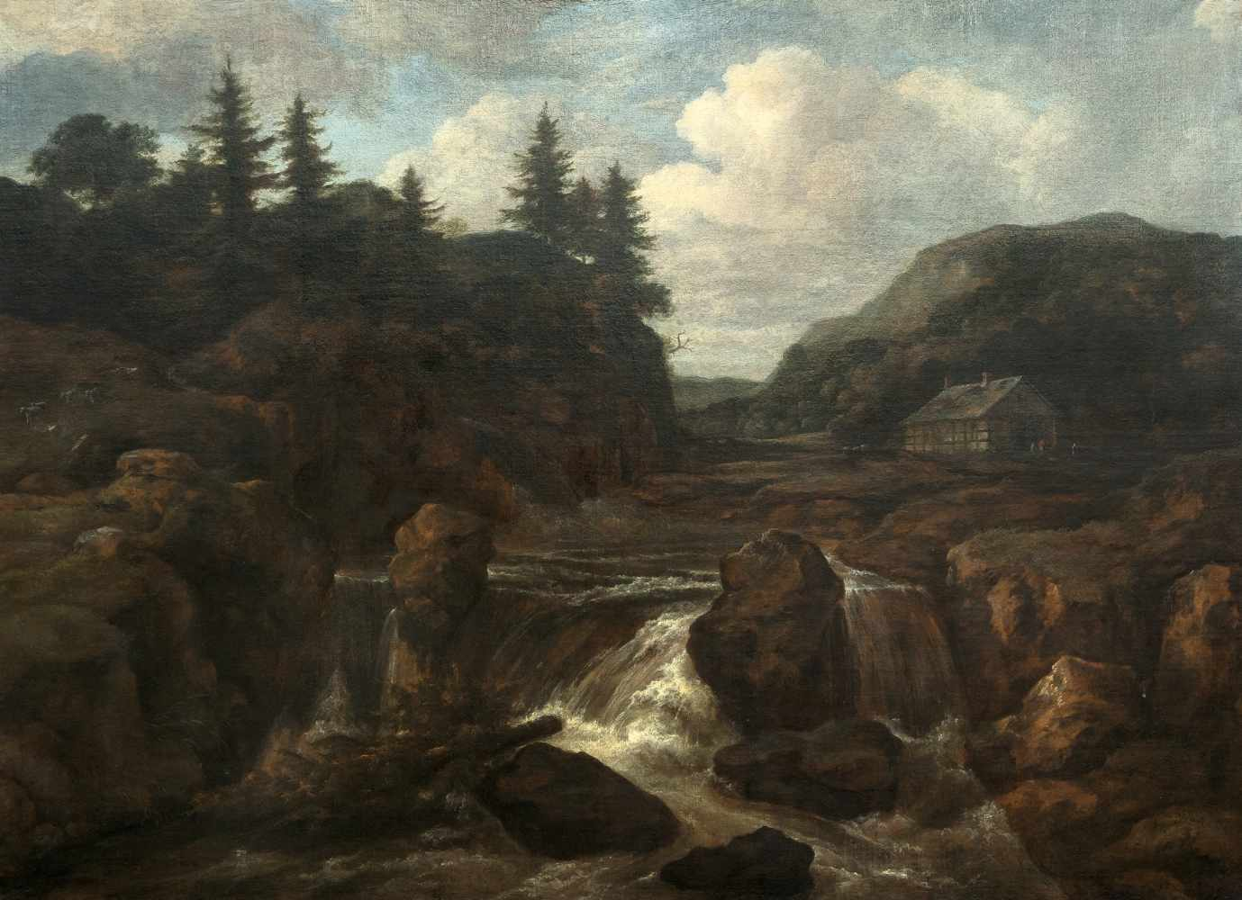 Los 35 - Jacob Van Ruisdael1628/29 Haarlem - Amsterdam 1682Wasserfall in bergiger Landschaft Öl auf Leinwand,