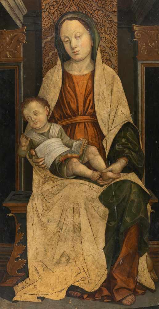 Los 10 - Bernardo Zenale (Werkstatt/Umkreis)c. 1460 Treviglio - Milan 1526Thronende Madonna mit KindÖl und