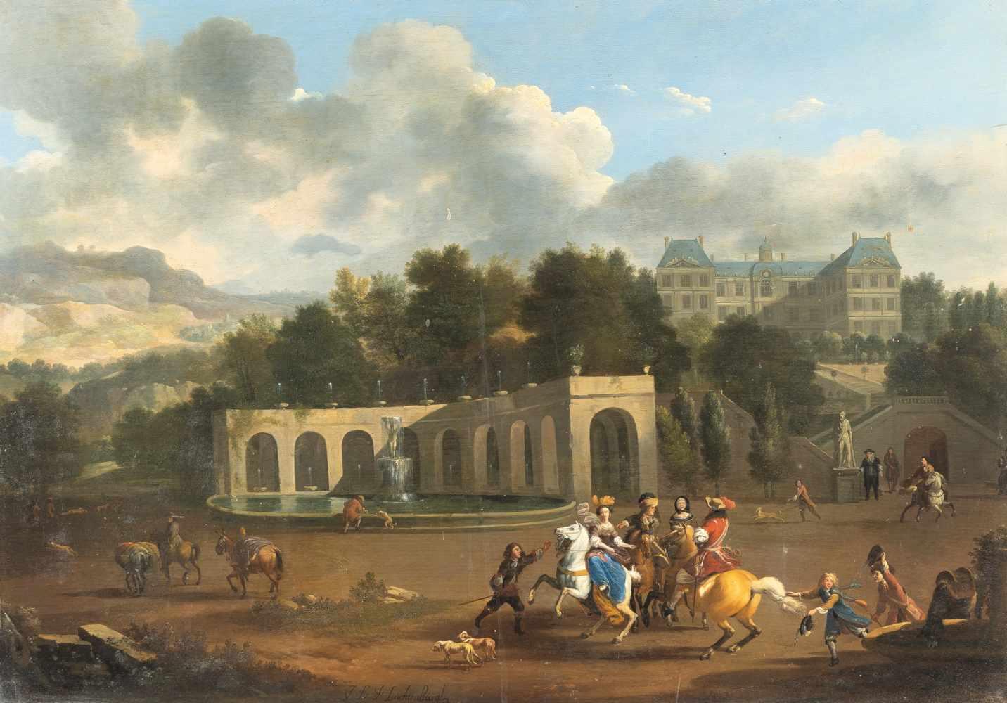 Los 37 - Jan Van Huchtenburgh1647 Haarlem - Amsterdam 1733Elegante Reitergesellschaft in einem Park vor einem