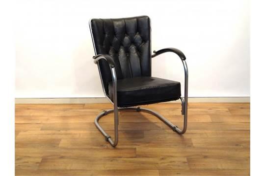Gispen fauteuil originele vernikkeld metalen buisfauteuil met