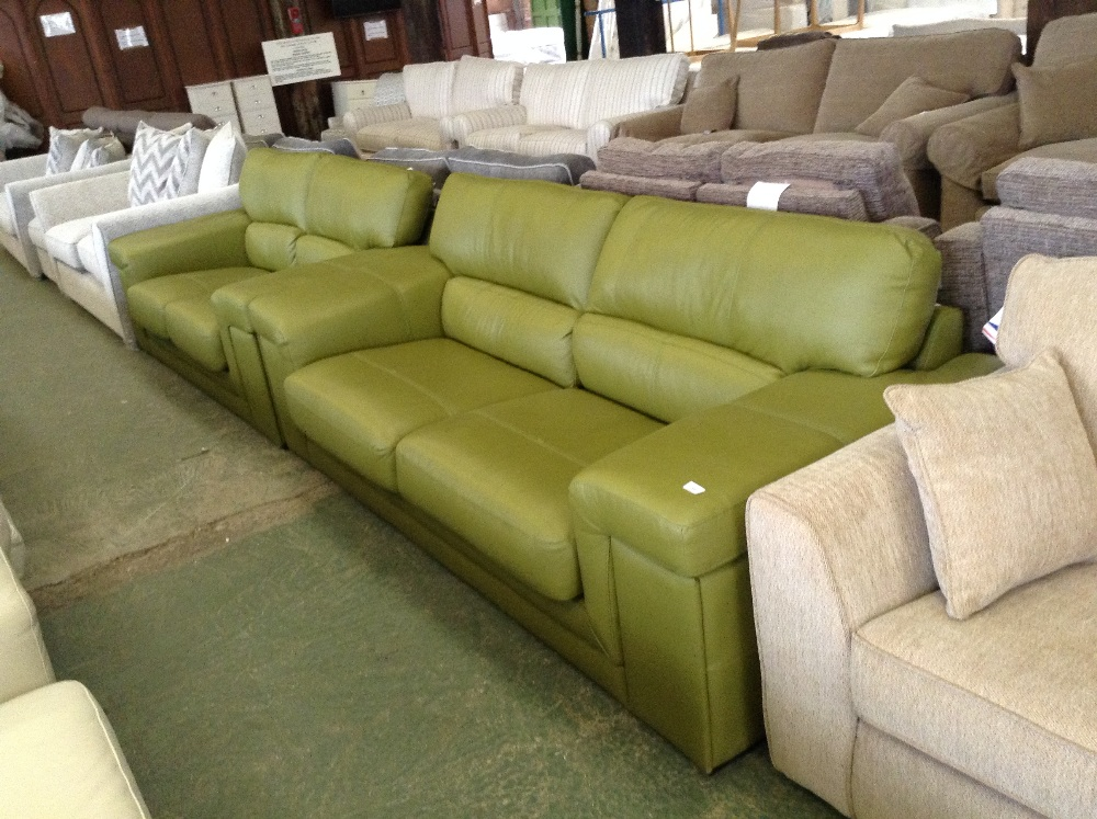 LIME GREEN LEATHER 3 SEATER SOFA AND 2 SEATER SOFA (16760