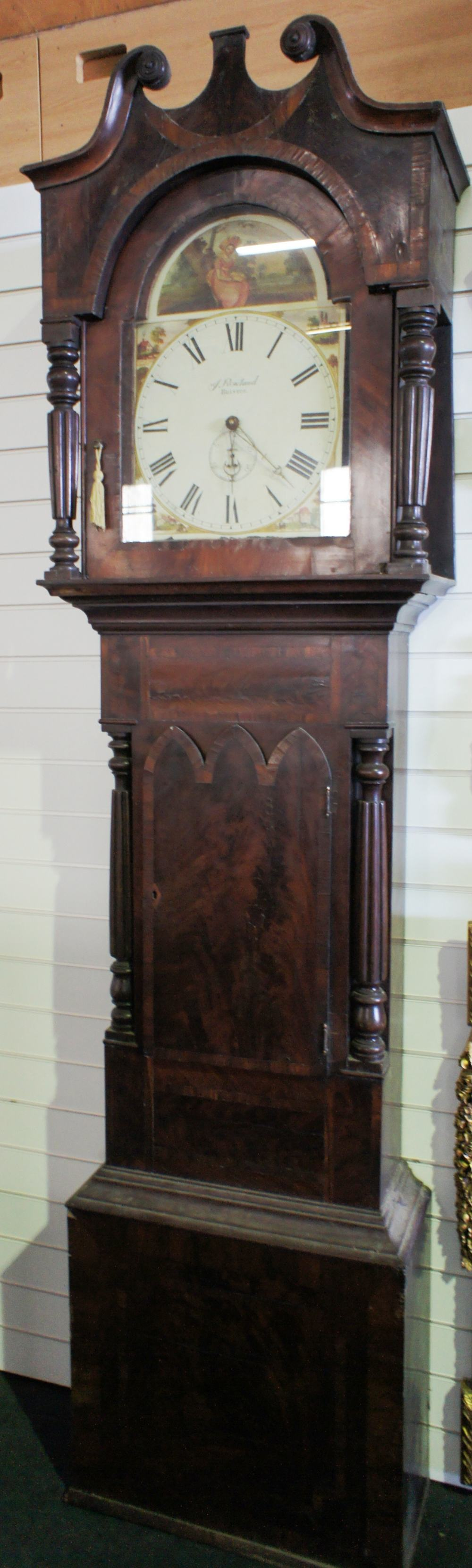Lot 614 - NV- An inlaid mahogany cased grandfather clock with swan neck cresting, a painted face with a 30