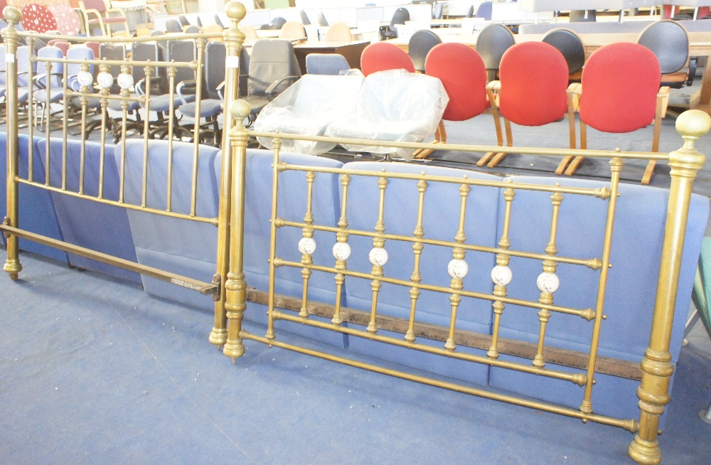 Lot 631a - NV- a decorative Victorian double size brass bed