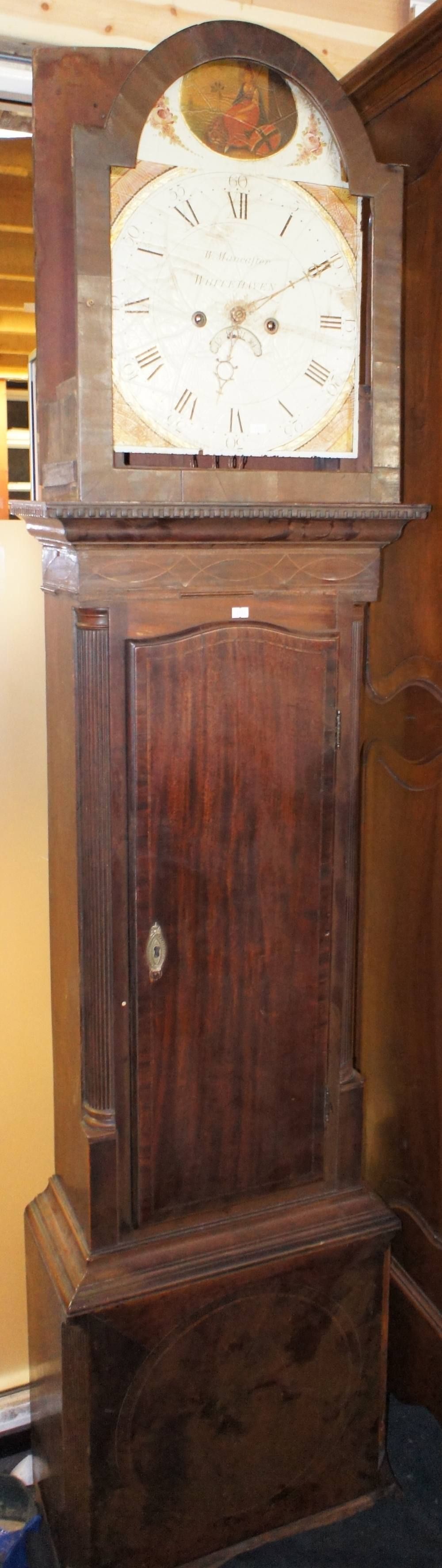 Lot 607 - NV- A part mahogany cased grandfather clock with a painted face and eight day movement (Incomplete)